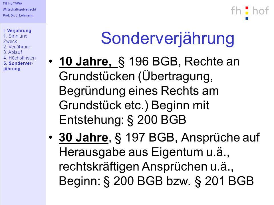 FH-Hof/ VWA Wirtschaftsprivatrecht. Prof. Dr. J. Lehmann. Sonderverjährung. I. Verjährung. 1. Sinn und.