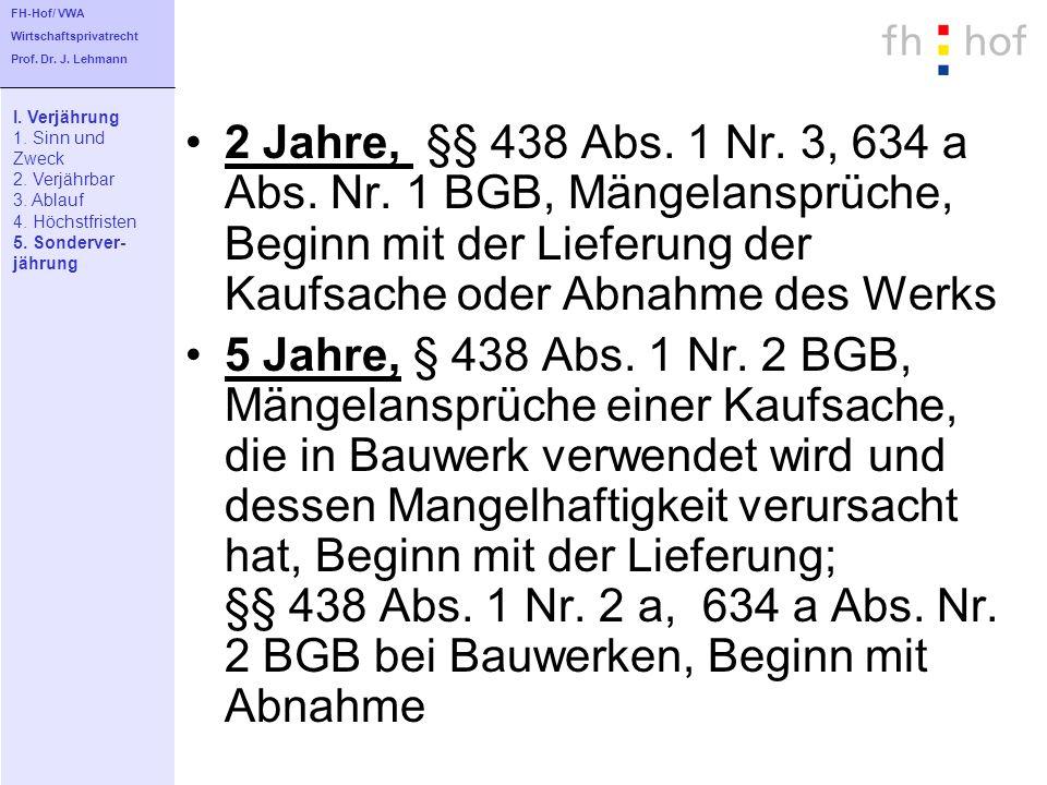 FH-Hof/ VWA Wirtschaftsprivatrecht. Prof. Dr. J. Lehmann. I. Verjährung. 1. Sinn und. Zweck. 2. Verjährbar.