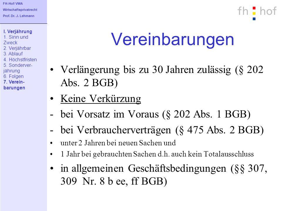 FH-Hof/ VWAWirtschaftsprivatrecht. Prof. Dr. J. Lehmann. Vereinbarungen. I. Verjährung. 1. Sinn und.