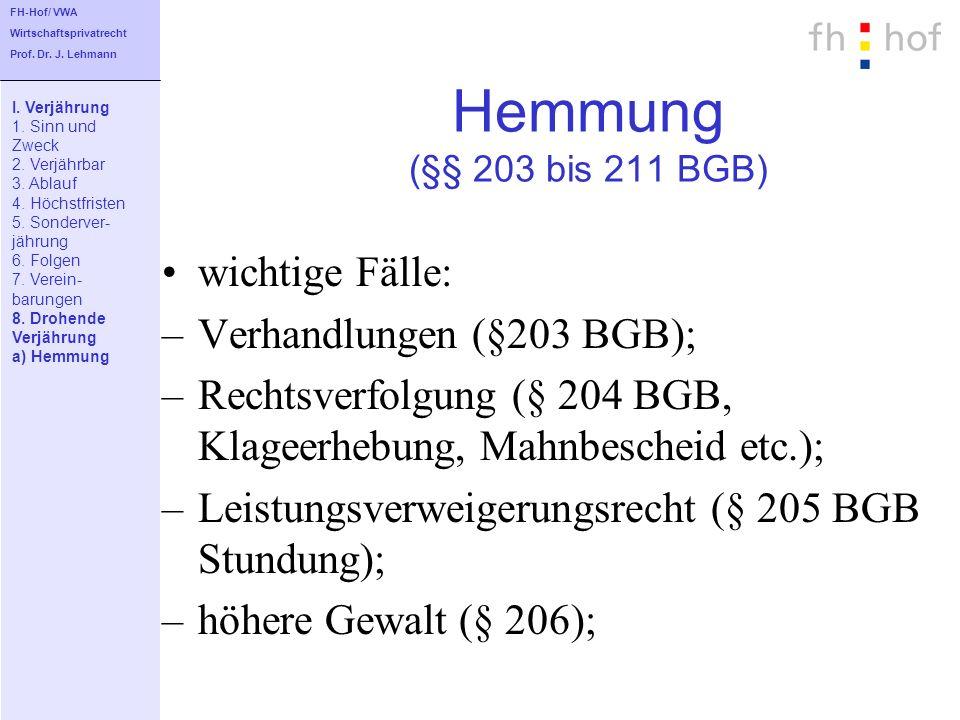 Hemmung (§§ 203 bis 211 BGB) wichtige Fälle: Verhandlungen (§203 BGB);