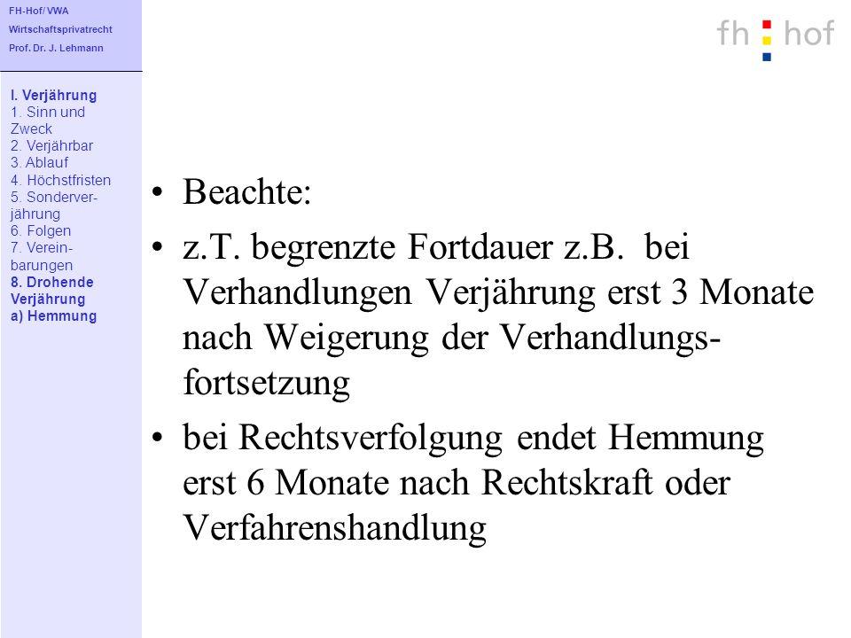 FH-Hof/ VWAWirtschaftsprivatrecht. Prof. Dr. J. Lehmann. I. Verjährung. 1. Sinn und. Zweck. 2. Verjährbar.