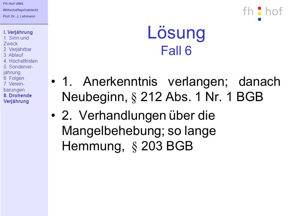 FH-Hof/ VWAWirtschaftsprivatrecht. Prof. Dr. J. Lehmann. Lösung Fall 6. I. Verjährung. 1. Sinn und.