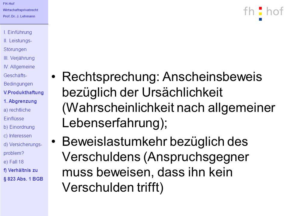 FH-Hof Wirtschaftsprivatrecht. Prof. Dr. J. Lehmann. I. Einführung. II. Leistungs- Störungen. III. Verjährung.