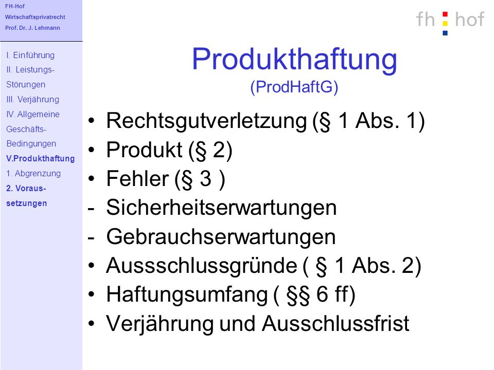Produkthaftung (ProdHaftG)