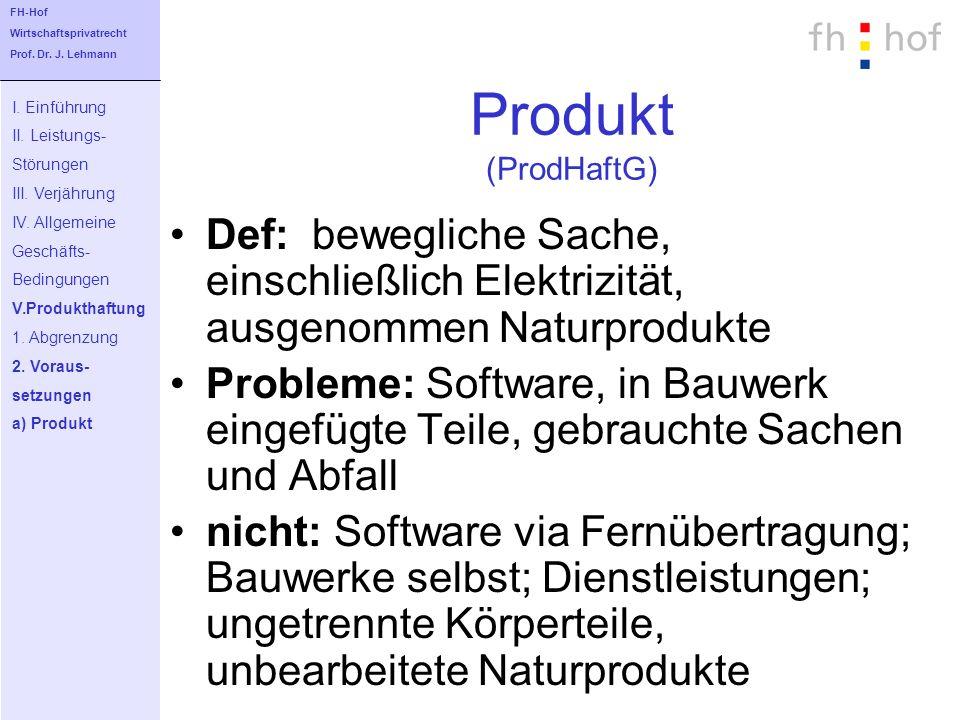 FH-Hof Wirtschaftsprivatrecht. Prof. Dr. J. Lehmann. Produkt (ProdHaftG) I. Einführung. II. Leistungs-