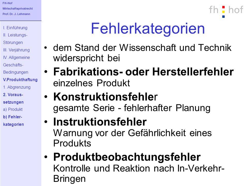Fehlerkategorien Fabrikations- oder Herstellerfehler einzelnes Produkt