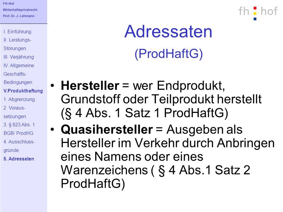 Adressaten (ProdHaftG)