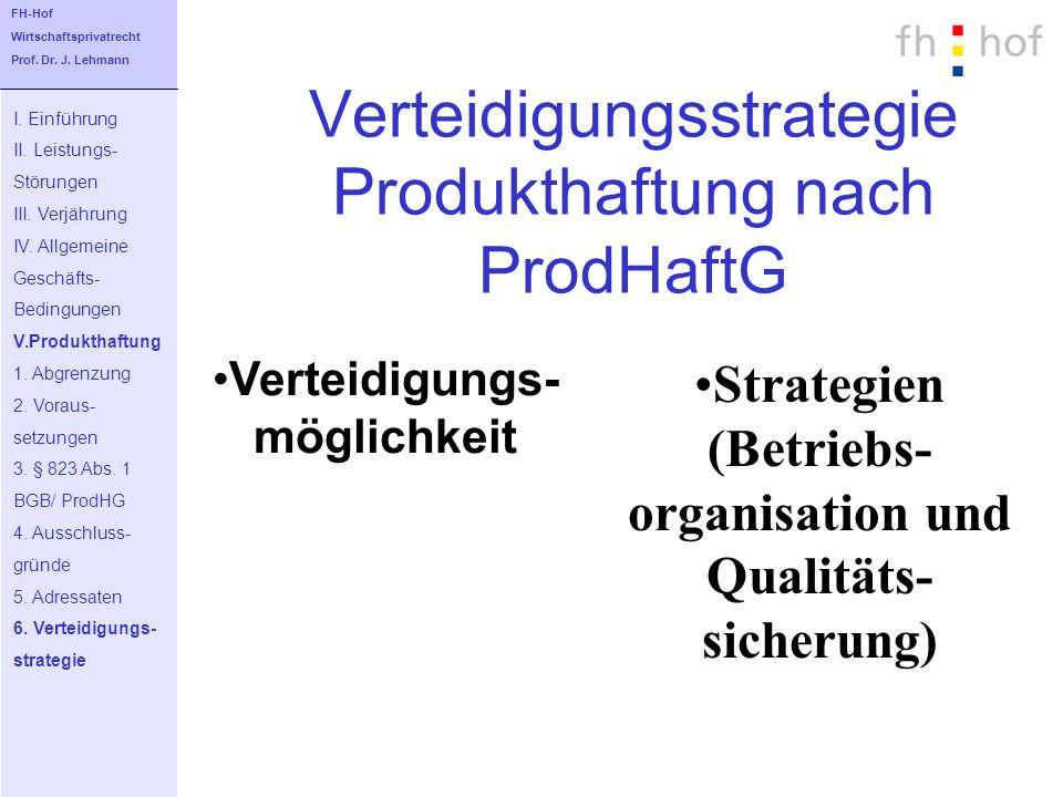 Verteidigungsstrategie Produkthaftung nach ProdHaftG