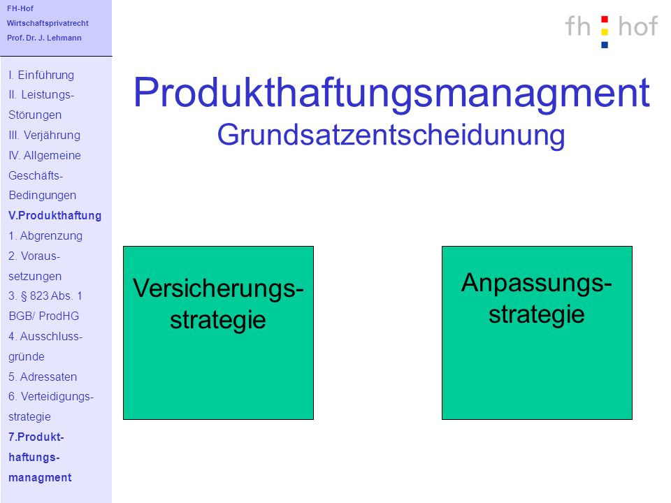 Produkthaftungsmanagment Grundsatzentscheidunung