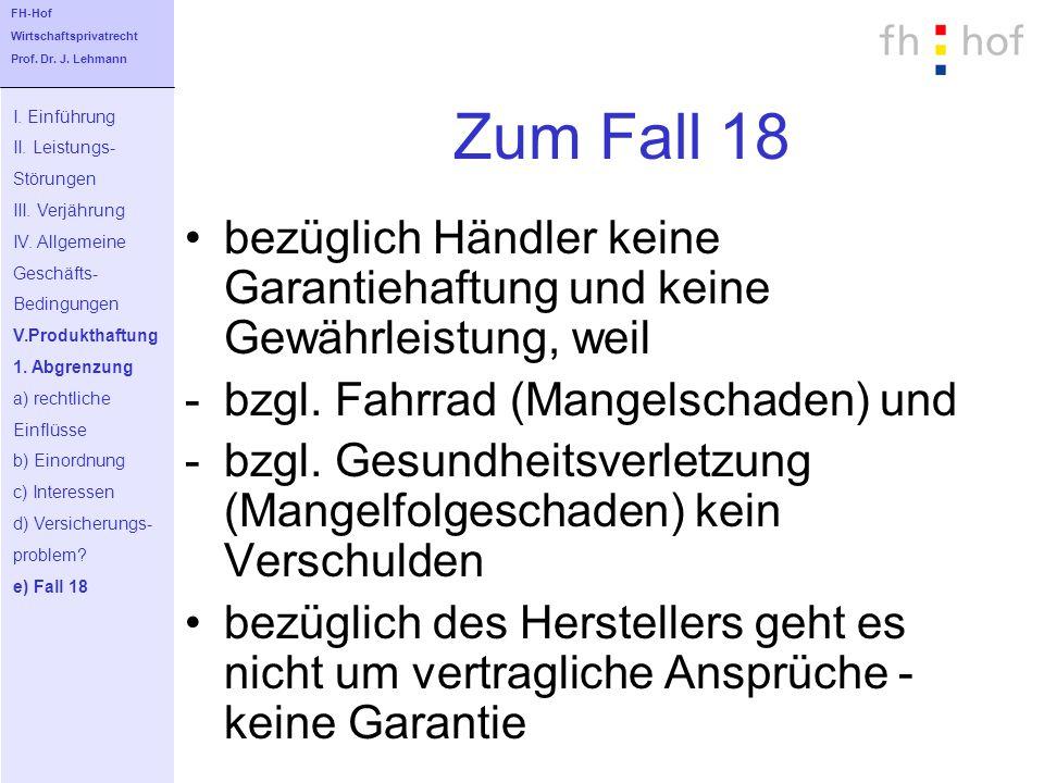 FH-Hof Wirtschaftsprivatrecht. Prof. Dr. J. Lehmann. Zum Fall 18. I. Einführung. II. Leistungs-