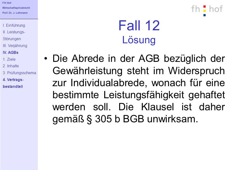FH-Hof Wirtschaftsprivatrecht. Prof. Dr. J. Lehmann. Fall 12 Lösung. I. Einführung. II. Leistungs-
