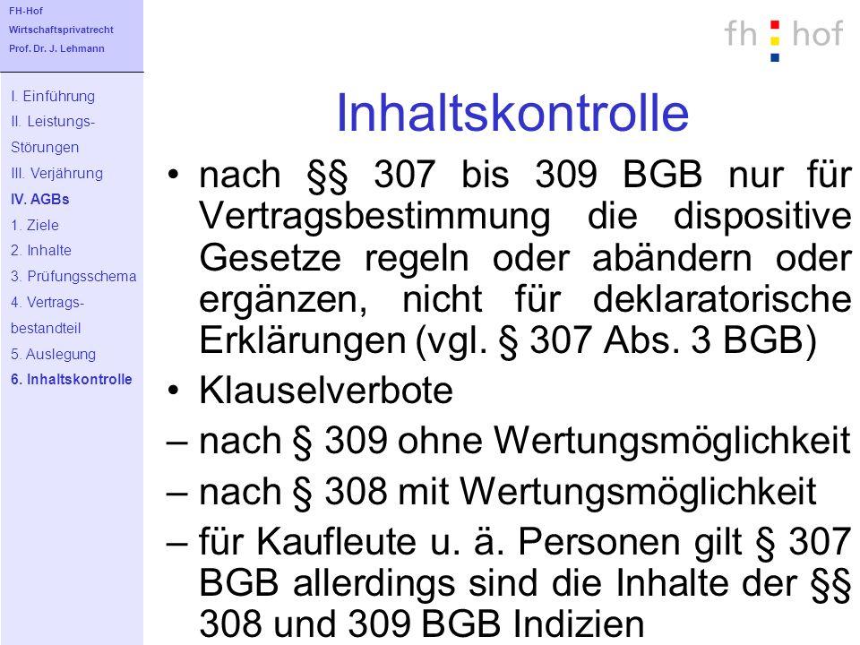 FH-Hof Wirtschaftsprivatrecht. Prof. Dr. J. Lehmann. Inhaltskontrolle. I. Einführung. II. Leistungs-