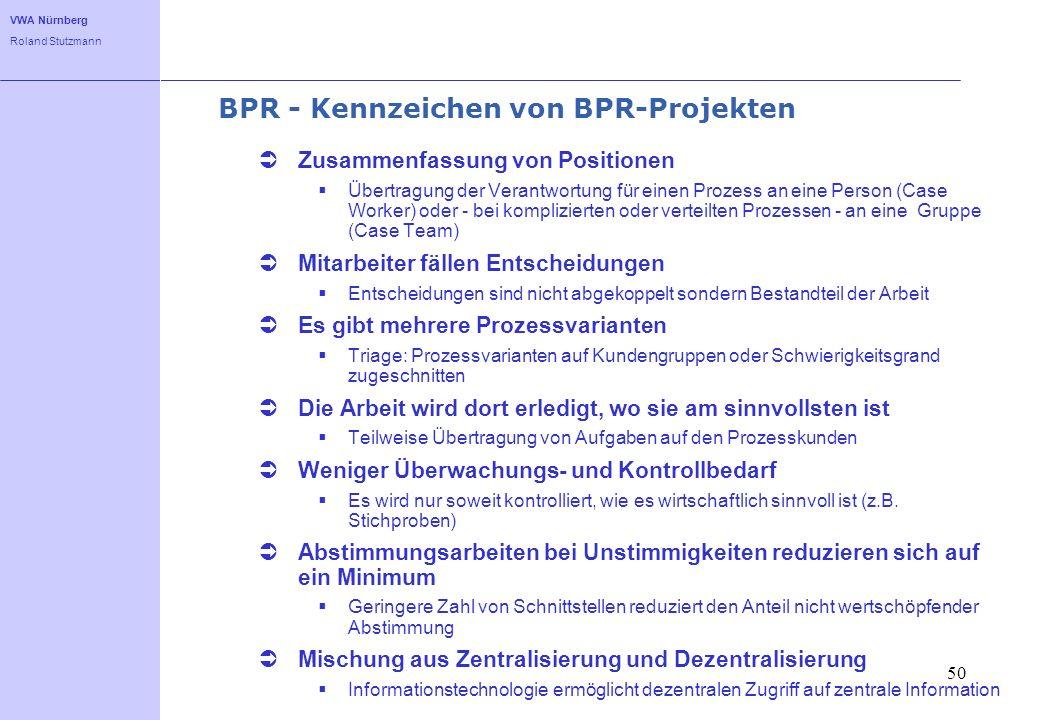 BPR - Kennzeichen von BPR-Projekten