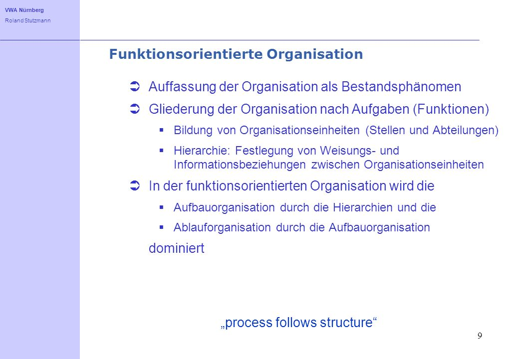 Funktionsorientierte Organisation