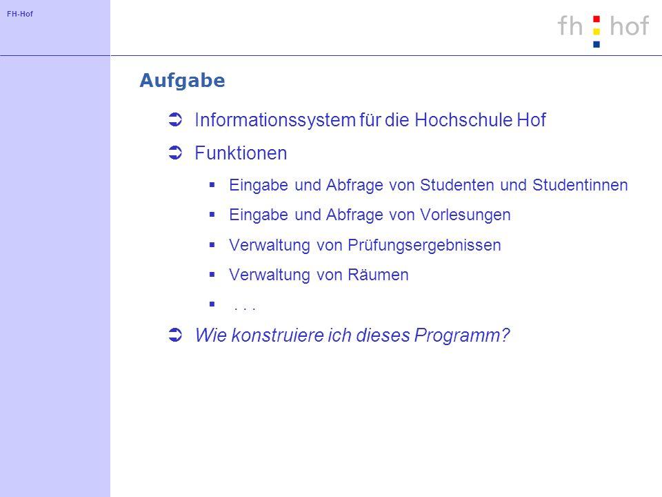 Informationssystem für die Hochschule Hof Funktionen