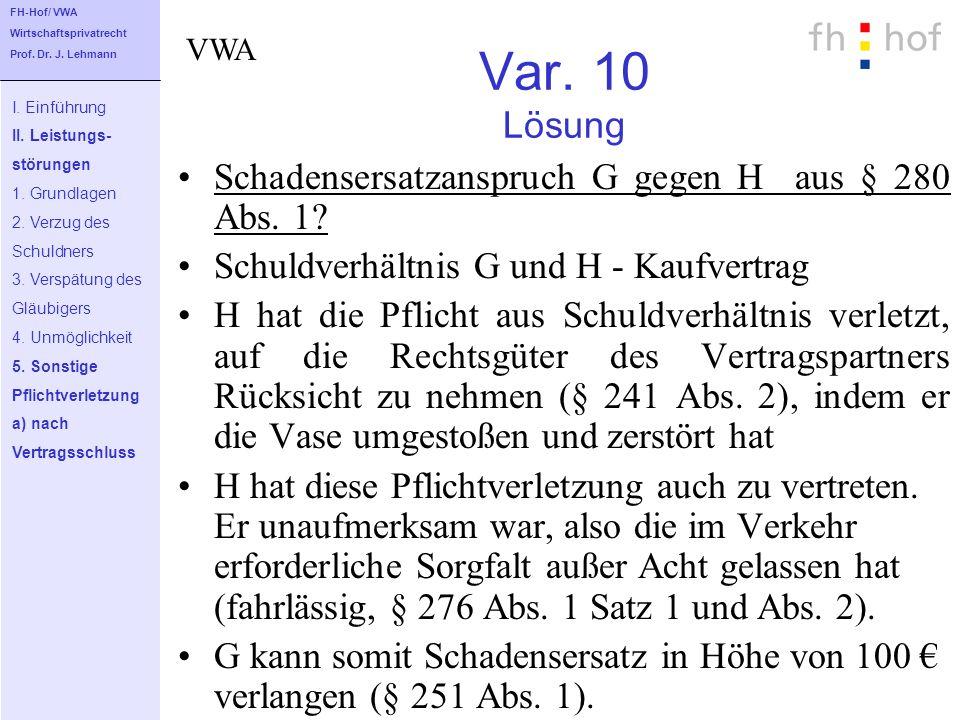 Var. 10 Lösung Schadensersatzanspruch G gegen H aus § 280 Abs. 1