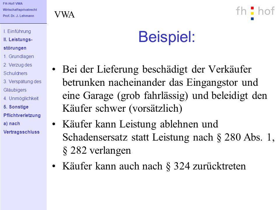 FH-Hof/ VWA Wirtschaftsprivatrecht. Prof. Dr. J. Lehmann. VWA. Beispiel: I. Einführung. II. Leistungs-