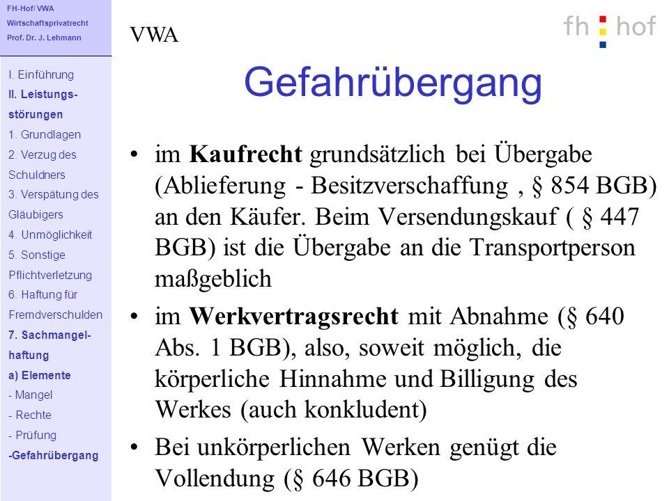 FH-Hof/ VWA Wirtschaftsprivatrecht. Prof. Dr. J. Lehmann. VWA. Gefahrübergang. I. Einführung. II. Leistungs-