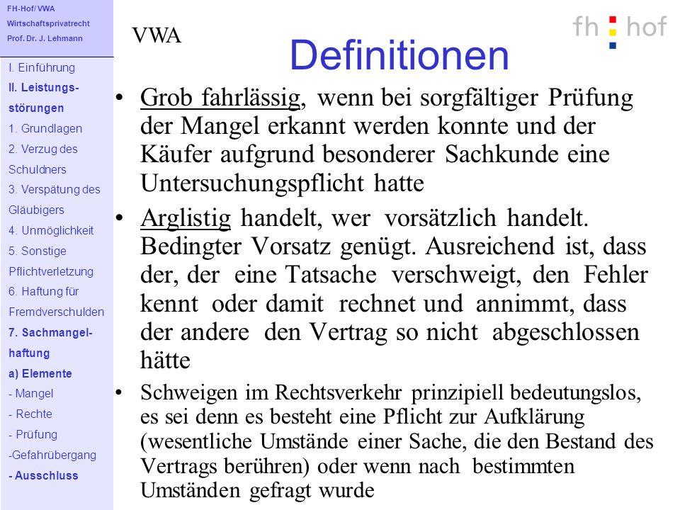 FH-Hof/ VWA Wirtschaftsprivatrecht. Prof. Dr. J. Lehmann. Definitionen. VWA. I. Einführung. II. Leistungs-