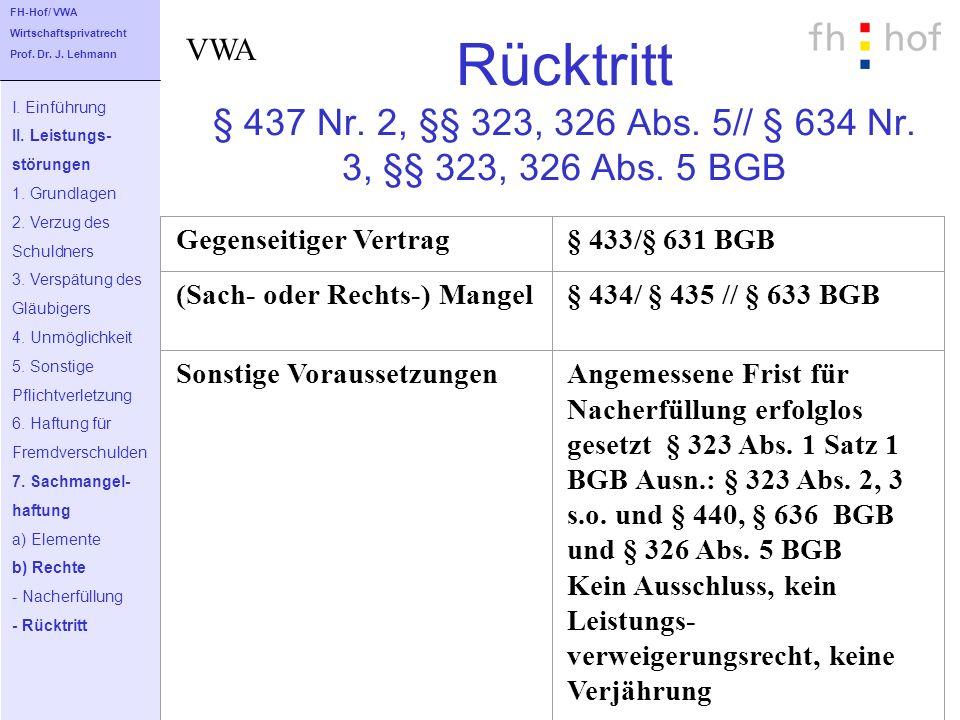 FH-Hof/ VWA Wirtschaftsprivatrecht. Prof. Dr. J. Lehmann. VWA. Rücktritt § 437 Nr. 2, §§ 323, 326 Abs. 5// § 634 Nr. 3, §§ 323, 326 Abs. 5 BGB.