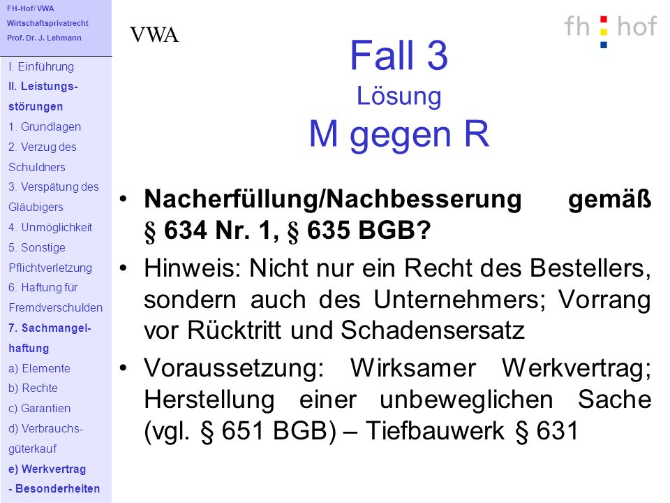 FH-Hof/ VWA Wirtschaftsprivatrecht. Prof. Dr. J. Lehmann. VWA. Fall 3 Lösung M gegen R. I. Einführung.