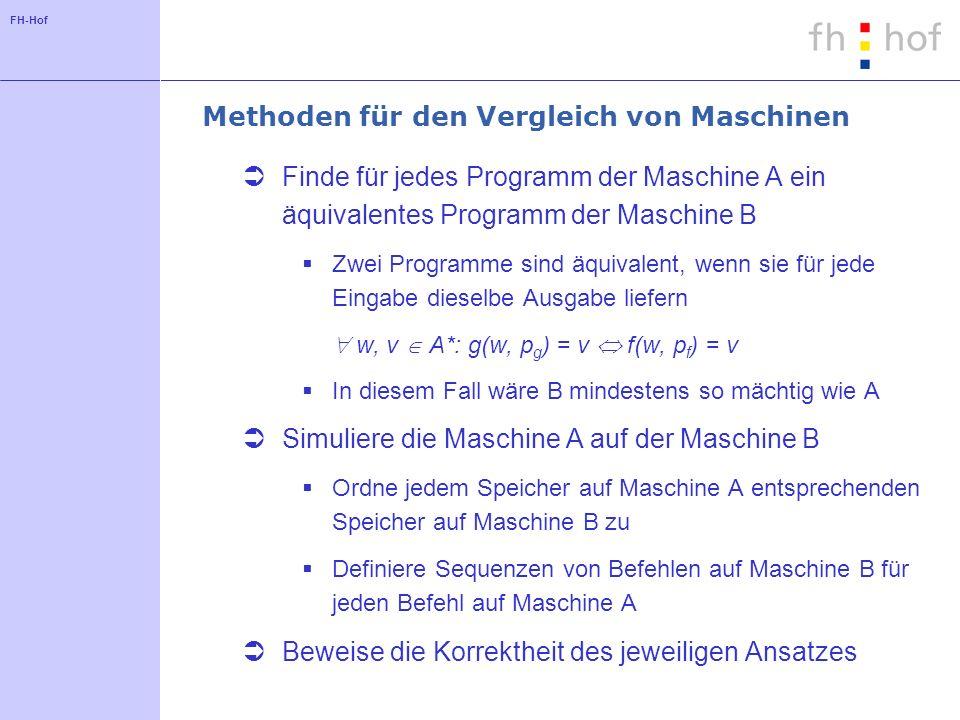 Methoden für den Vergleich von Maschinen