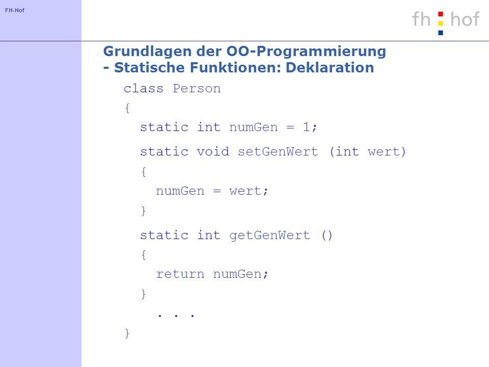 Grundlagen der OO-Programmierung - Statische Funktionen: Deklaration