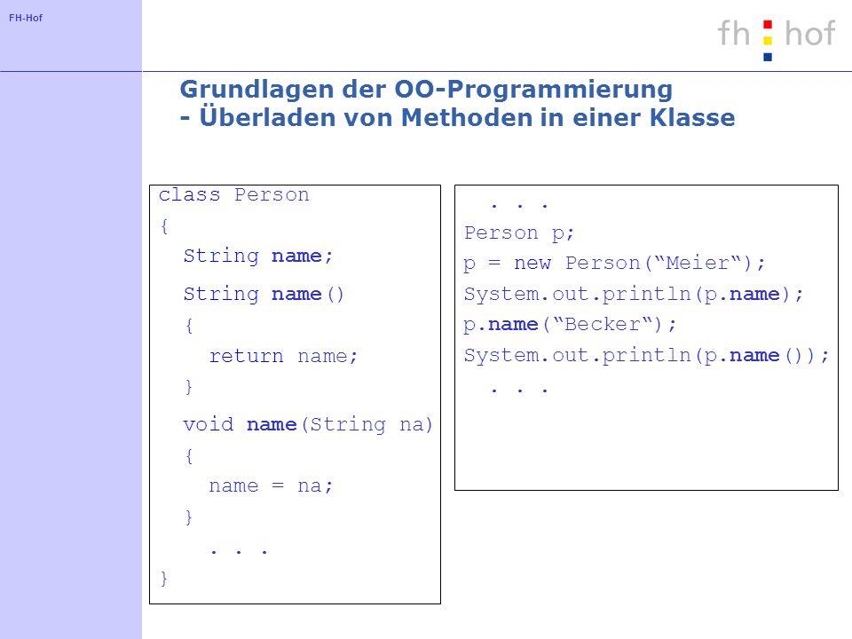 Grundlagen der OO-Programmierung - Überladen von Methoden in einer Klasse