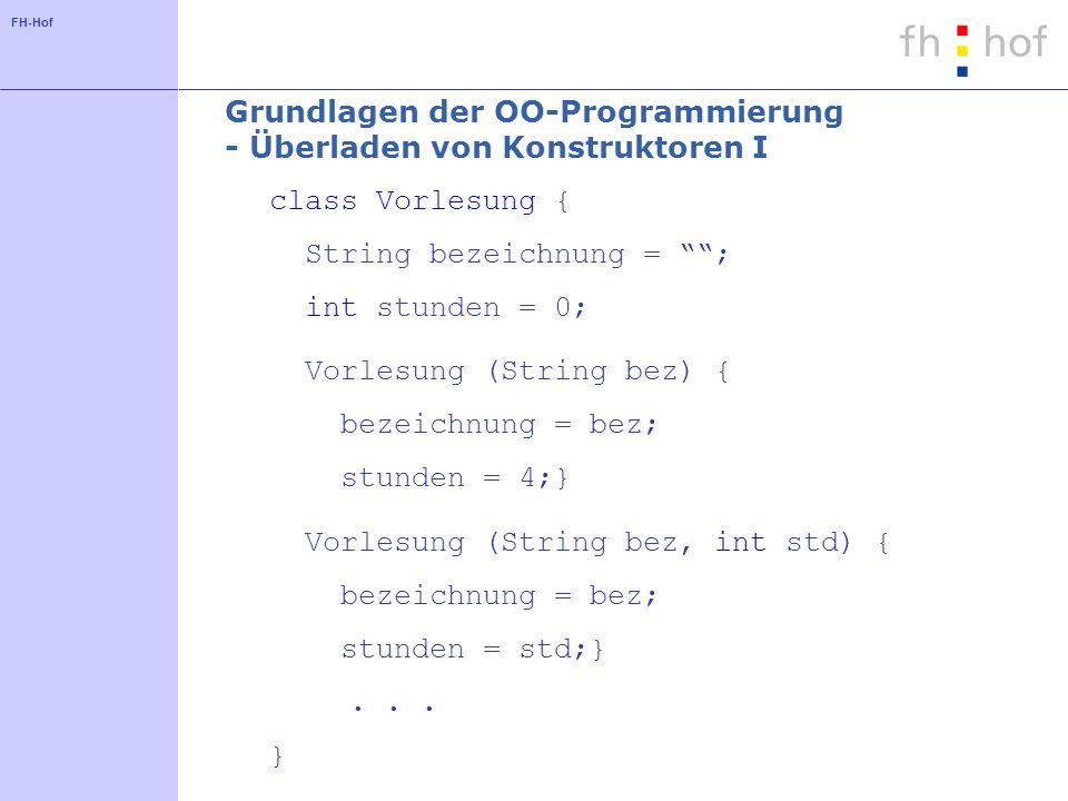 Grundlagen der OO-Programmierung - Überladen von Konstruktoren I