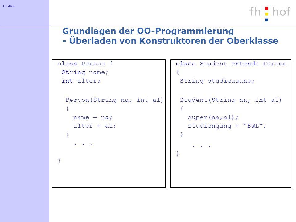 Grundlagen der OO-Programmierung - Überladen von Konstruktoren der Oberklasse