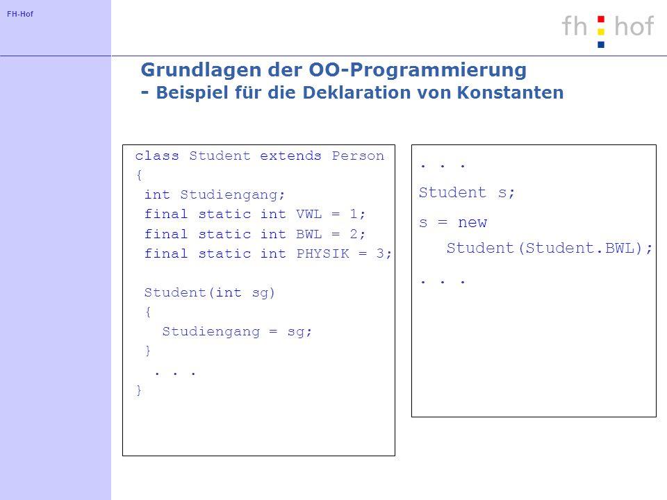 Grundlagen der OO-Programmierung - Beispiel für die Deklaration von Konstanten