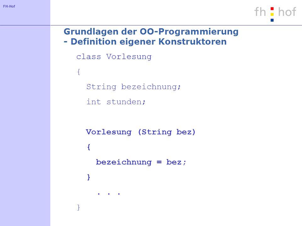 Grundlagen der OO-Programmierung - Definition eigener Konstruktoren