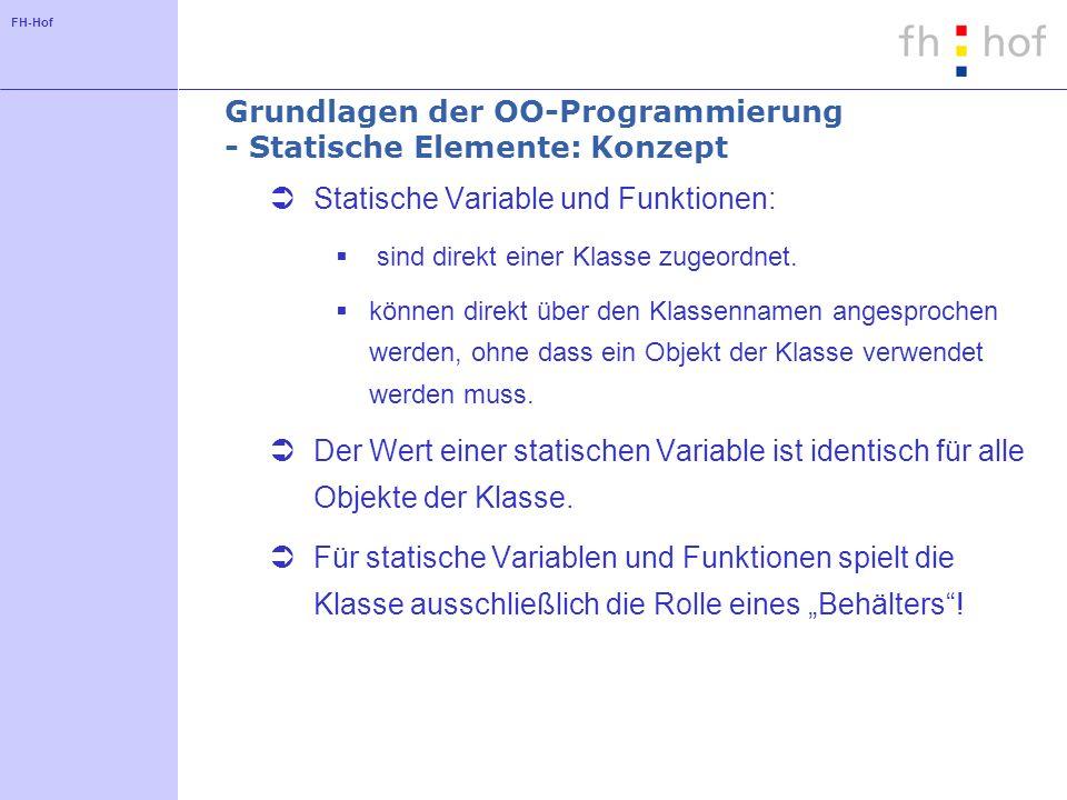 Grundlagen der OO-Programmierung - Statische Elemente: Konzept
