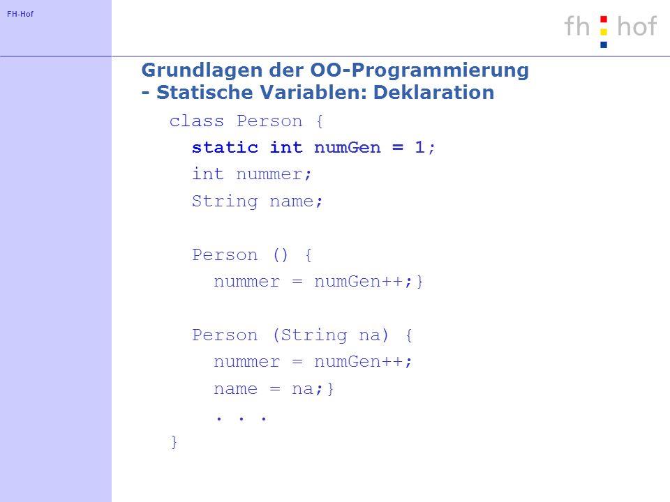 Grundlagen der OO-Programmierung - Statische Variablen: Deklaration