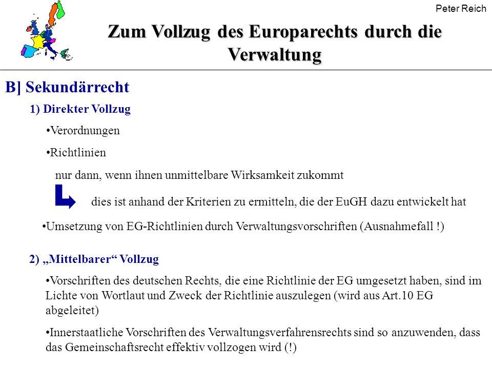 Zum Vollzug des Europarechts durch die Verwaltung
