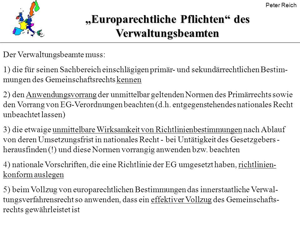 """""""Europarechtliche Pflichten des Verwaltungsbeamten"""