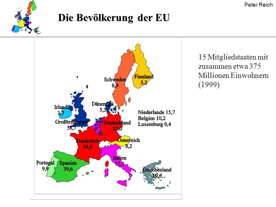 Die Bevölkerung der EU 15 Mitgliedstaaten mit zusammen etwa 375 Millionen Einwohnern (1999)