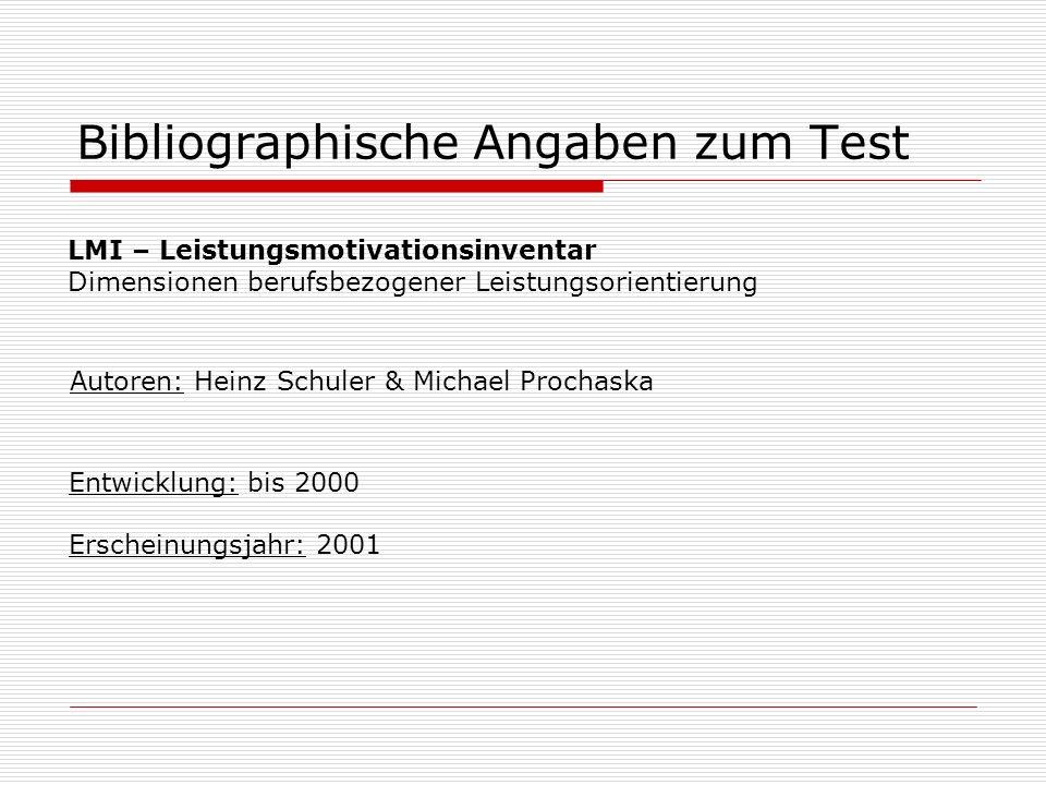 Bibliographische Angaben zum Test