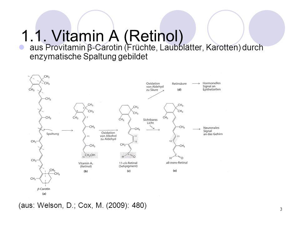 1.1. Vitamin A (Retinol) aus Provitamin β-Carotin (Früchte, Laubblätter, Karotten) durch enzymatische Spaltung gebildet.