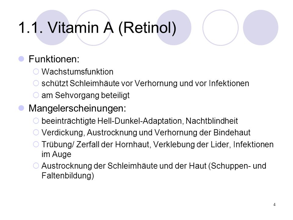 1.1. Vitamin A (Retinol) Funktionen: Mangelerscheinungen: