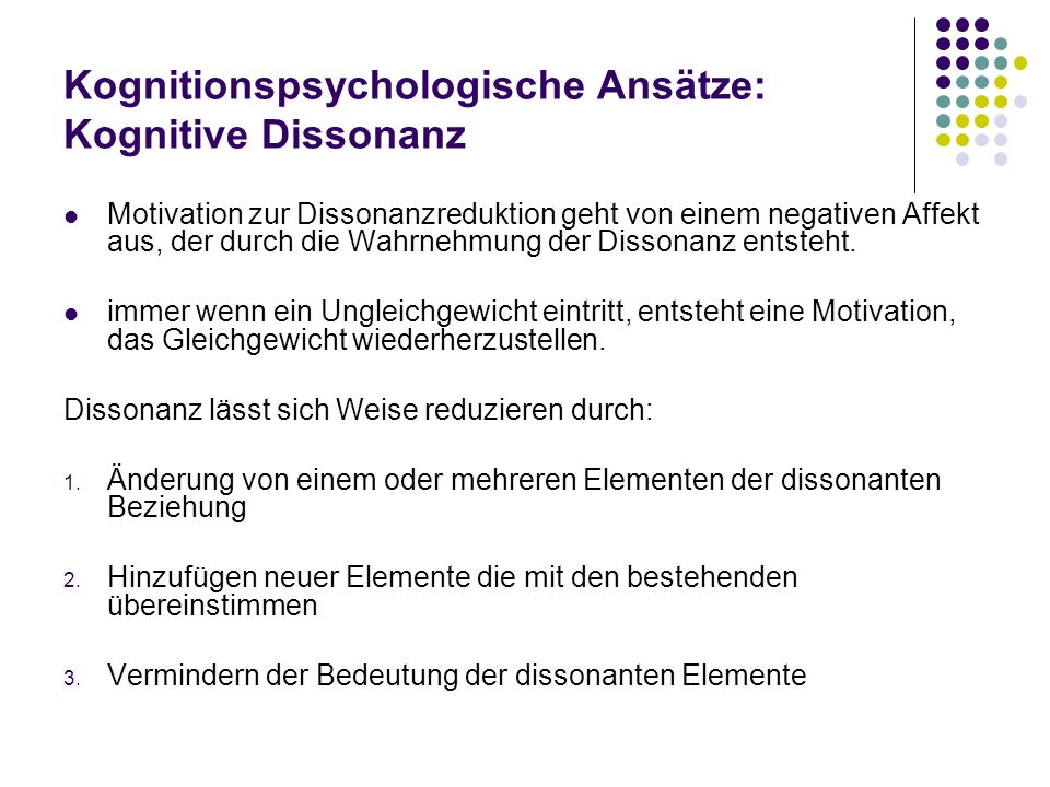 Kognitionspsychologische Ansätze: Kognitive Dissonanz