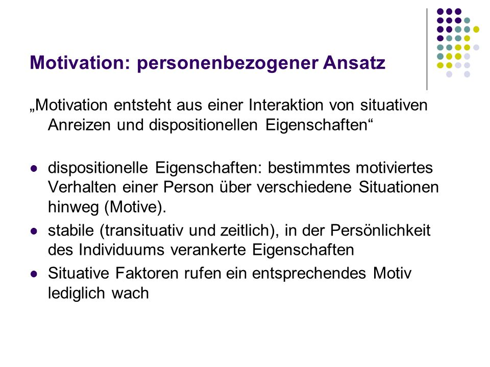 Motivation: personenbezogener Ansatz
