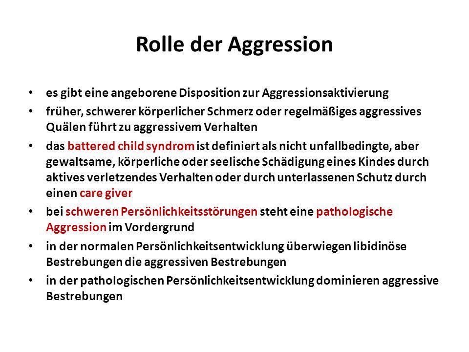 Rolle der Aggression es gibt eine angeborene Disposition zur Aggressionsaktivierung.
