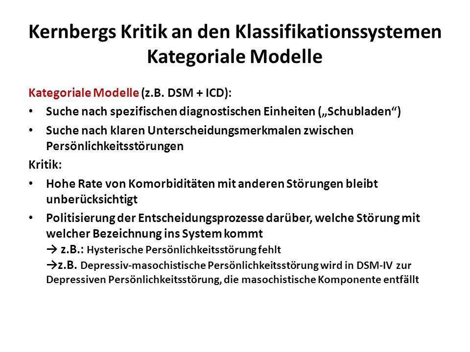 Kernbergs Kritik an den Klassifikationssystemen Kategoriale Modelle