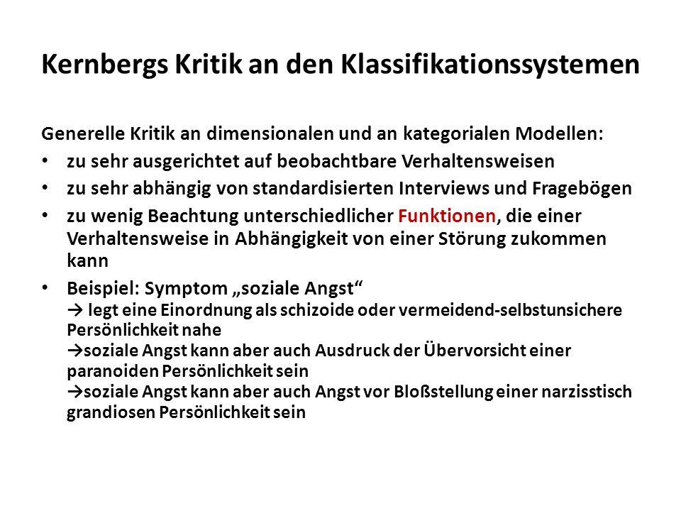 Kernbergs Kritik an den Klassifikationssystemen