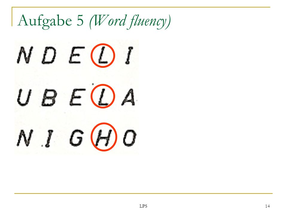 Aufgabe 5 (Word fluency)