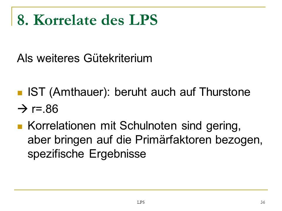 8. Korrelate des LPS Als weiteres Gütekriterium