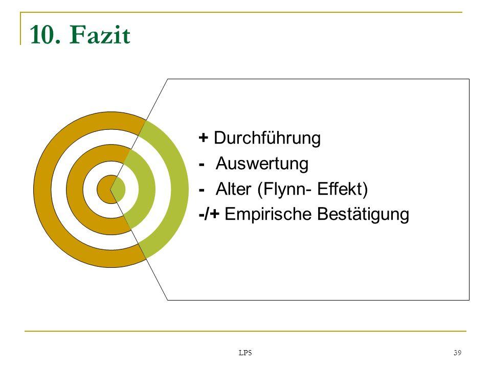 10. Fazit + Durchführung - Auswertung - Alter (Flynn- Effekt)