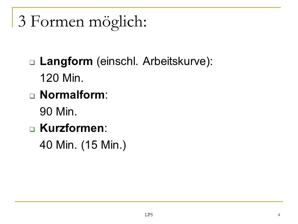 3 Formen möglich: Langform (einschl. Arbeitskurve): 120 Min.