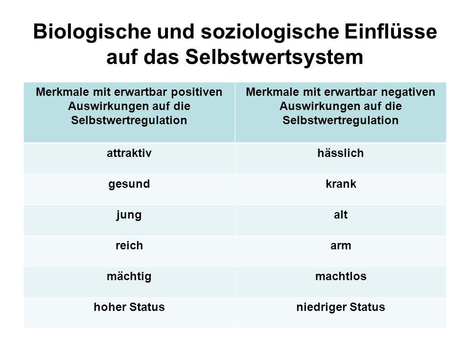 Biologische und soziologische Einflüsse auf das Selbstwertsystem